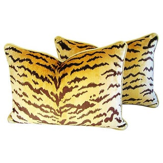 Custom Scalamandre Silk Le Tiger Pillows - A Pair