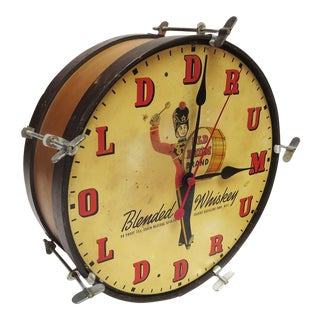 1950's Old Drum Whiskey Advertising Electric Wall Clock