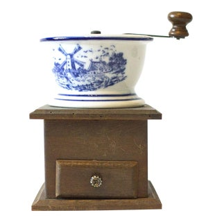 Antique Coffee Mill with Ceramic Bowl