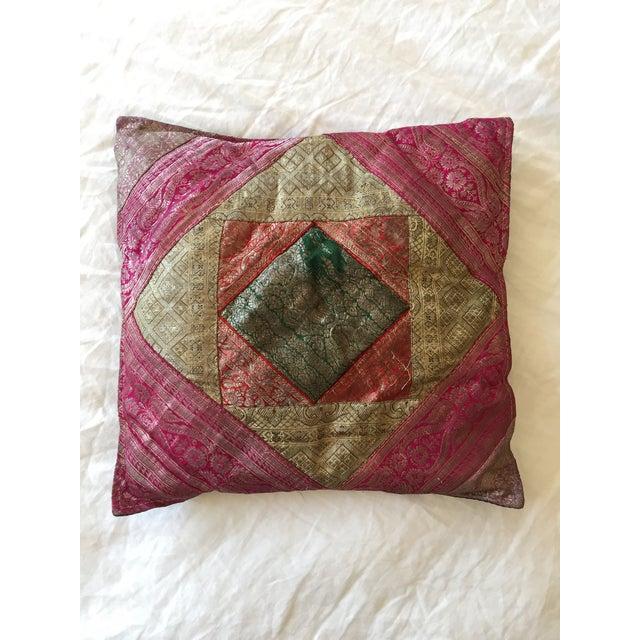 Vintage Indian Sari Quilt Pillow - Image 2 of 3