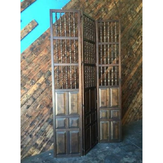 Walnut Mid Century Room Divider w/Carved Spindles - Image 7 of 8