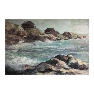 Vintage Rockport Seascape Oil Painting