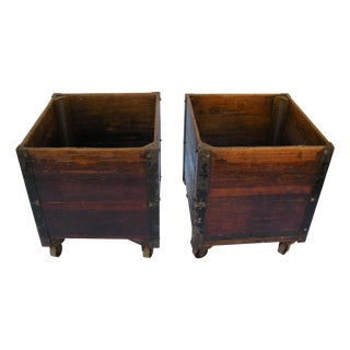 Antique American Wooden Laundry Carts - A Pair