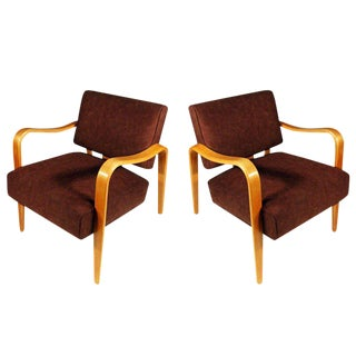 Mid-Century Modern Thonet Bent Plywood Armchairs - A Pair