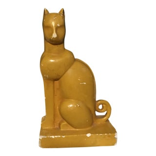 Dark Yellow Art Deco Cat