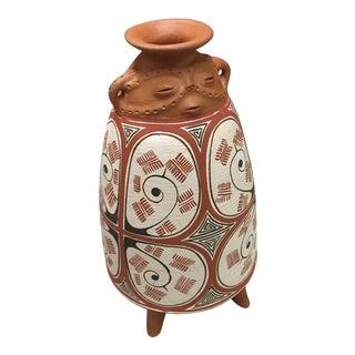 Venezuelan Handcrafted Clay Figure Vase