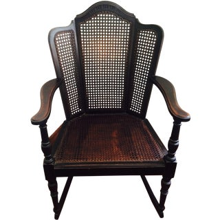 Vintage Wood & Cane Rocking Chair