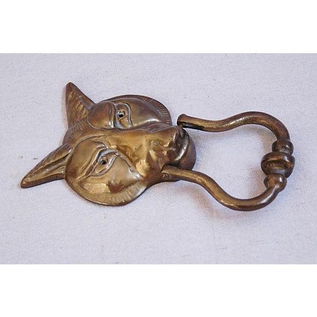 Image of Large 1960s English Brass Fox Door Knocker