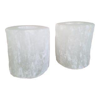 Natural Selenite Candle Holders, A Pair