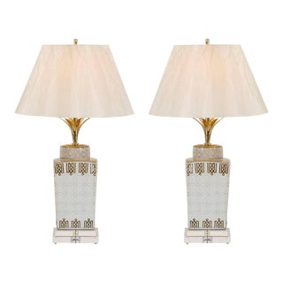 Stylish Pair of Modern Chippendale Style Ceramic Lamps