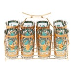 Bar Glasses With Brass Caddy - Set of 8