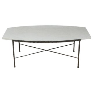 Paul Marra Ellipse Cocktail Table in Textured Iron and Bateig Blue Stone