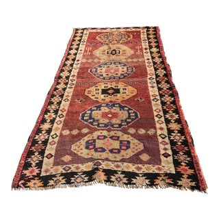 "Vintage Turkish Oushak Runner 4'1"" x 7'9"""