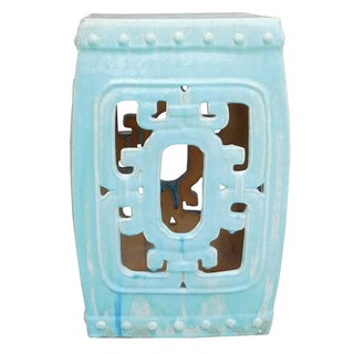 Turquoise Blue Square Ru Yi Pattern Clay Stool