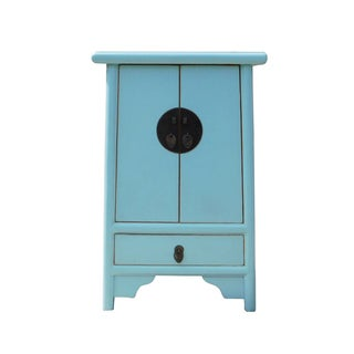 Light Blue Chinese End Table or Nightstand