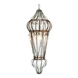 Large Venetian Glass & Iron Lantern Light Fixture