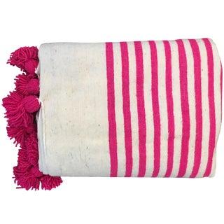 Pompom Pink Stripe Blanket