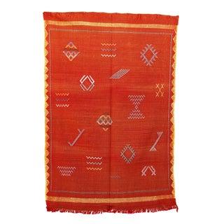 """Orange Vintage Moroccan Cactus Silk - 3'1"""" x 4'8"""""""