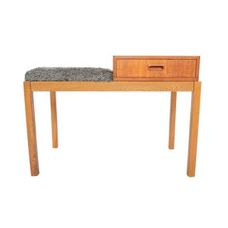 Mid-Century Teak & Oak Telephone Bench