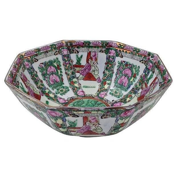 Mid-Century Famille Rose Porcelain Octagonal Bowl - Image 1 of 3