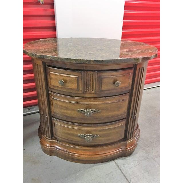 Solid Dark Wood Marble-Top Nightstands - A Pair - Image 3 of 8