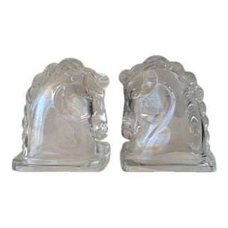 Art Deco Glass Horse Head Bookends - A Pair