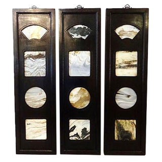 Chinese Framed Dream Stones - Set of 3