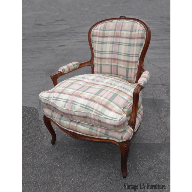 Vintage French Country Carved Wood & Plaid Arm Chair - Image 3 of 11