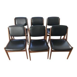 Arne Vodder Designed Ella Teak Dining Chairs in Black Leather. Circa 1967