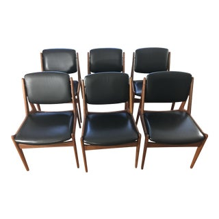 Arne Vodder Designed Ella Teak Dining Chairs in Black Leather. Circa 1967