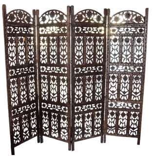 Indian 4-Panel Carved Screen
