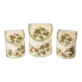 French Antique Tole Canisters Hand Painted Gold/Cream Painted French Cachepots - Set of 3