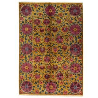 """Contemporary Suzani Hand Knotted Rug- 6' 2"""" x 8' 10"""""""