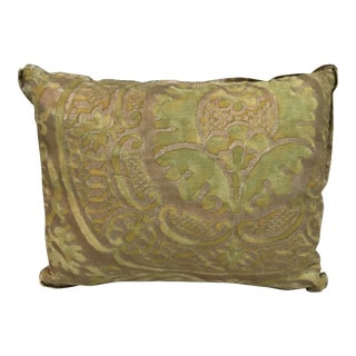 Fortuny Green & Gold Orsini Patterned Pillow