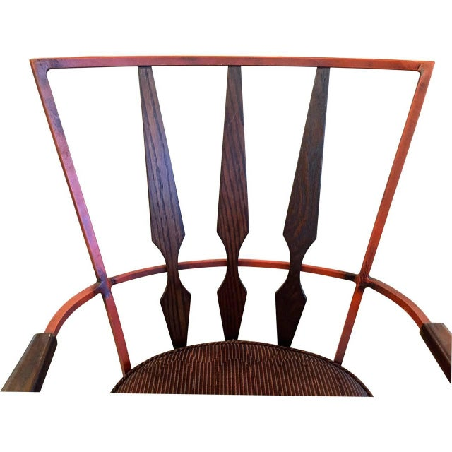 Set of Four Enameled Steel and Walnut Armchairs in the Manner of Salterini - Image 2 of 4