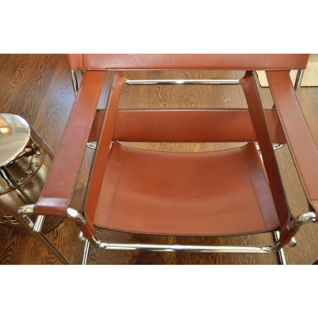 Reproduction Mid-Century Wassily Leather & Chrome Chairs - Pair - Image 4 of 9