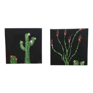 Boho Chic Mini Cactus Painting - A Pair