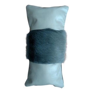 Gray Leather & Cowhide Lumbar Pillow
