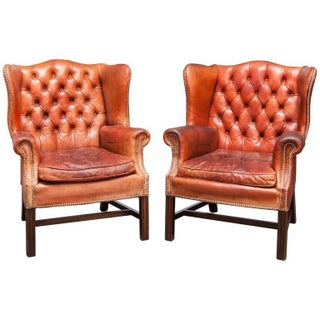 English Cigar Leather Tufted Wing Chairs - Pair