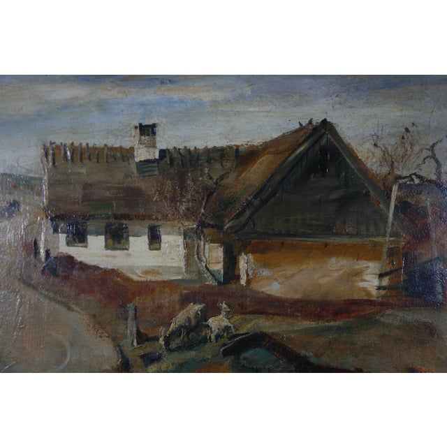 1900s Danish Country Oil Painting on Fiberboard - Image 5 of 6
