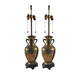Vintage Dragon Marbro Brass Urn Lamp - Pair