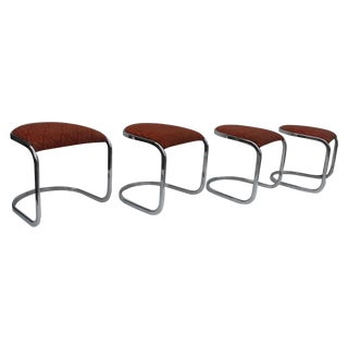 Overman Tubular Chrome Stools - Set of 4