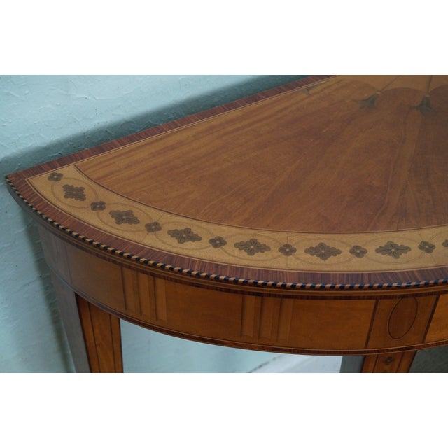 Kindel Irish Georgian Collection Inlaid Demilune Console Table - Image 7 of 10