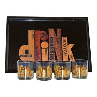 Couroc Drinks Service Tray Rock Glasses - 5 Piece Set