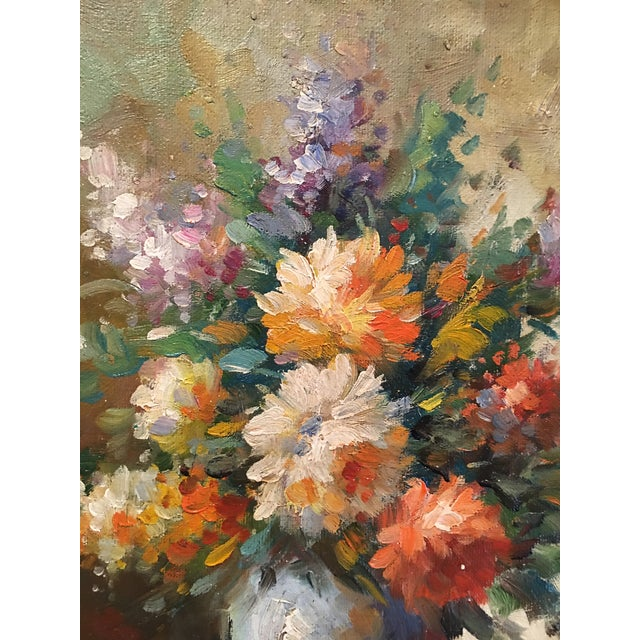 Floral Oil Painting of Dahlias & Other Flowers in a Blue Vase - Image 7 of 7
