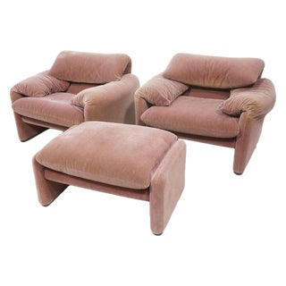 Vico Magistretti Lounge Chairs and Ottoman