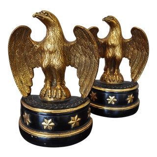 Vintage Federal Style Gilt Eagle Bookends - A Pair