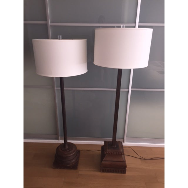 Image of Antique Asian Wood & Metal Floor Lamps - A Pair
