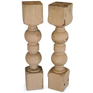 1940s Carved Wood Corbel Columns - a Pair