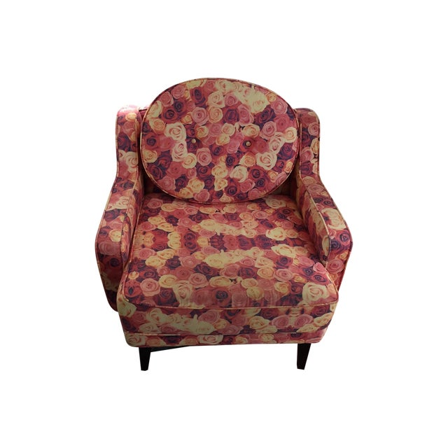Rose Print Upholstered Chair - Image 1 of 5